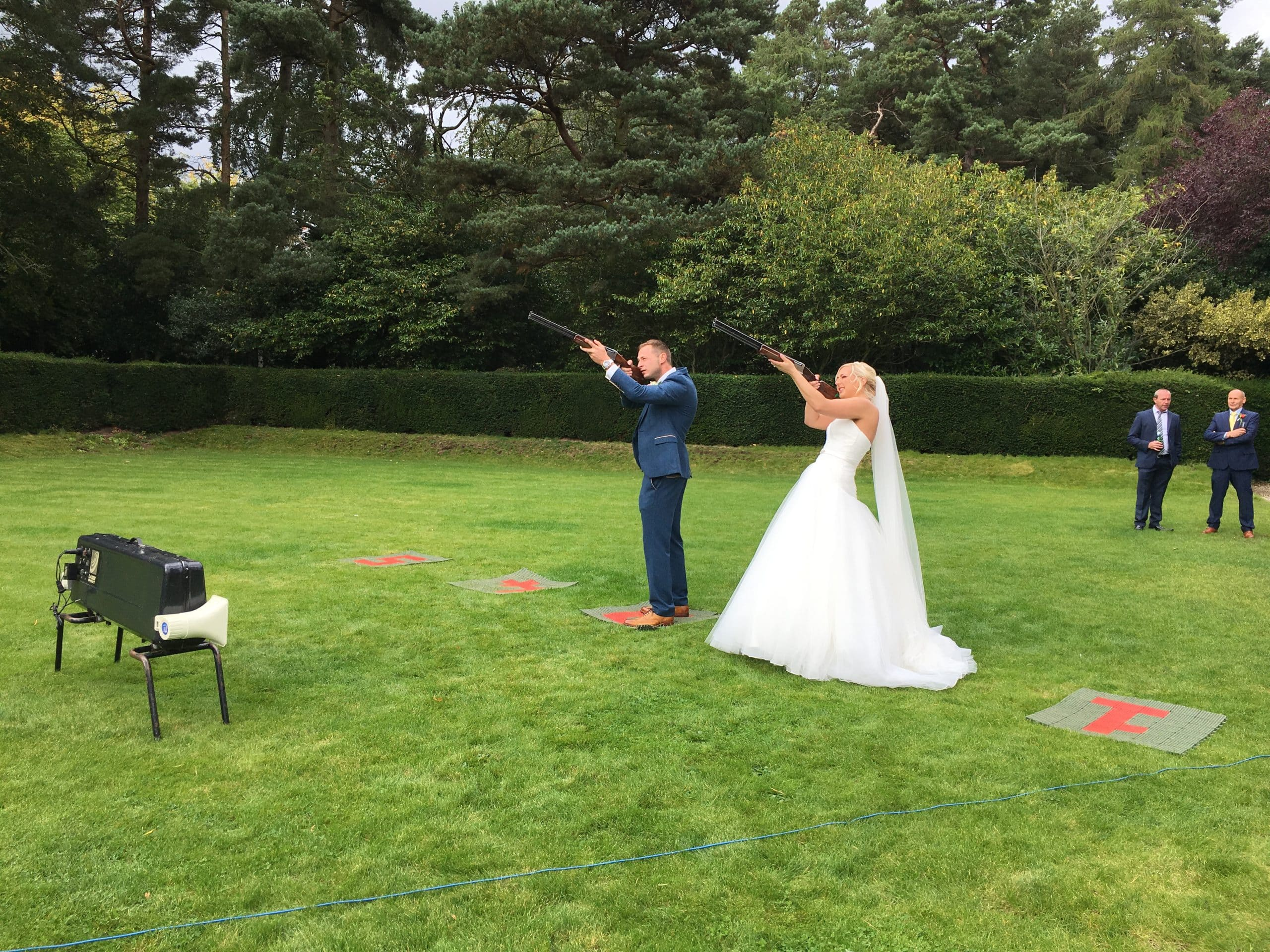 Bride and Groom Laser Clay Shooting